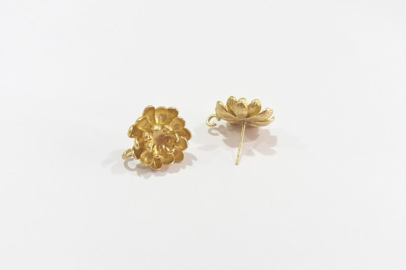 Fornitura de latón crisantemo (pendientes)