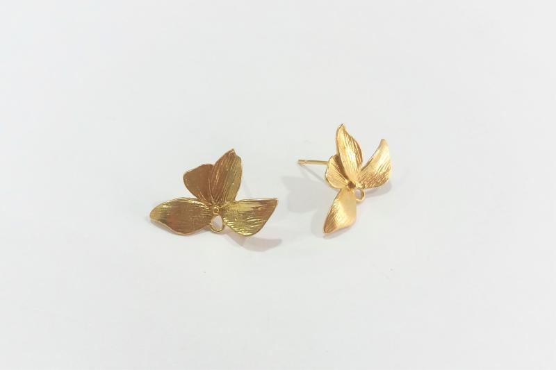 Fornitura de latón pétalo mariposa (pendientes) - 14 mm x 20 mm