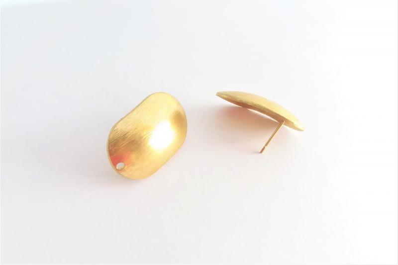 Fornitura de latón Ovalo curvado (pendientes) - 24 mm x 15 mm