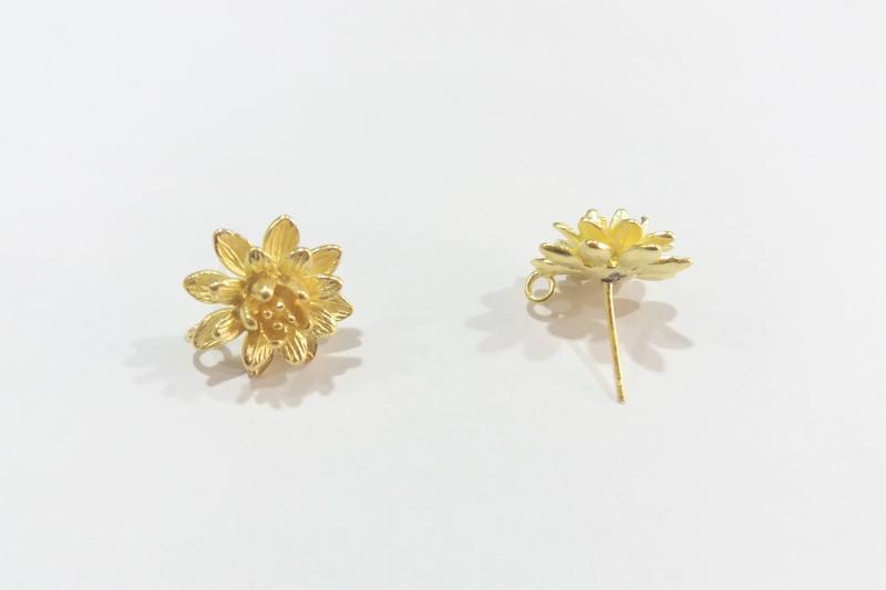 Fornitura de latón Flor de loto (pendientes)