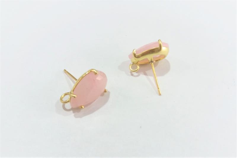 Base de Pendientes rosa pálido pequeño - 14 x 10mm