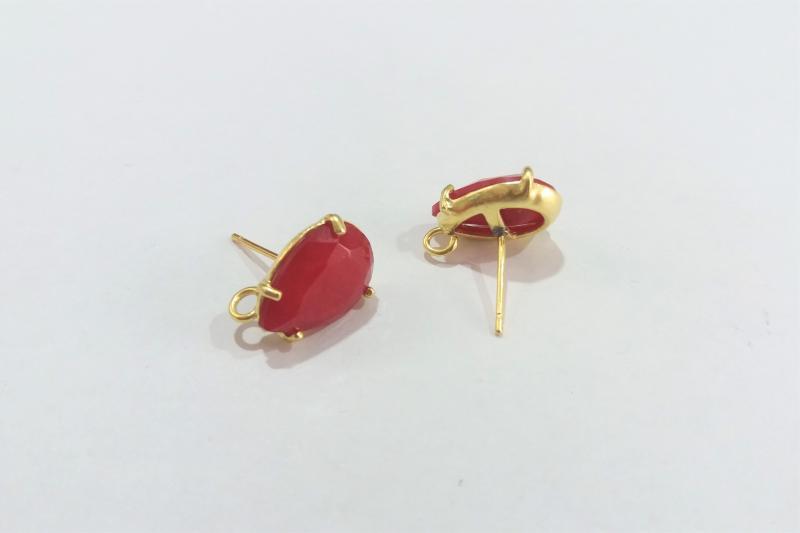 Base de Pendientes rojo pequeño  - 14 x 10mm