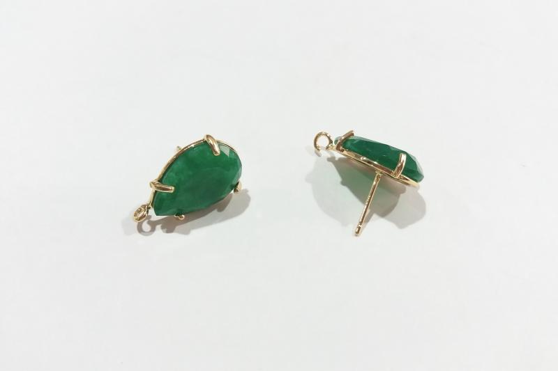 Base de Pendientes verde oscuro - 18 x 13mm