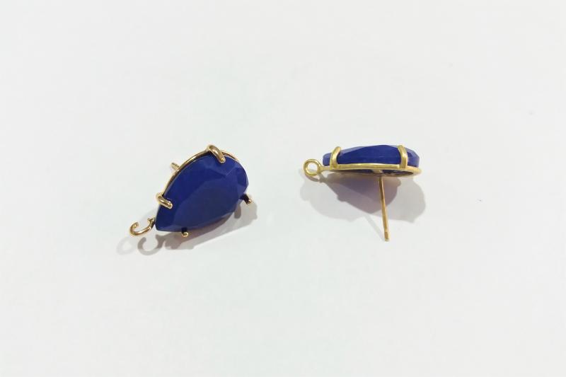 Base de Pendientes azul oscuro  - 18 x 13mm