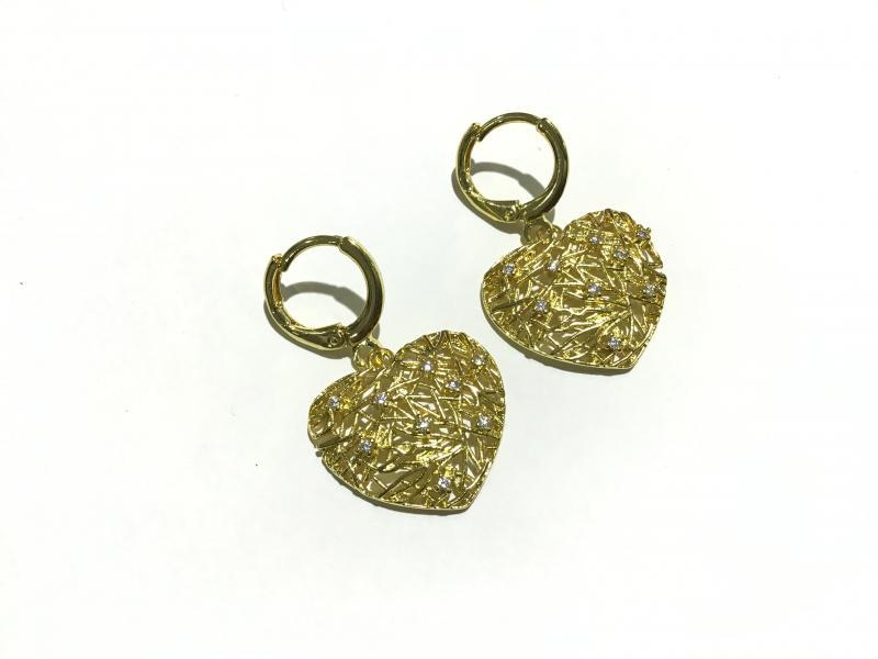 Pendientes Baño de Oro 18k y circonitas  - Largo: 3cm