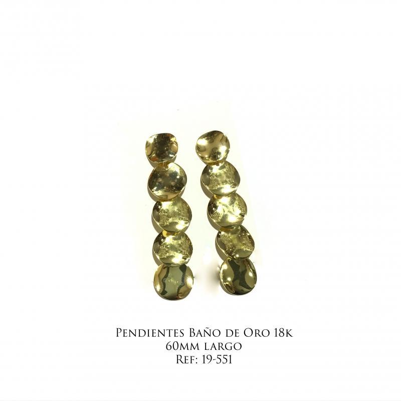 Pendientes Baño de Oro 18k - 60mm largo
