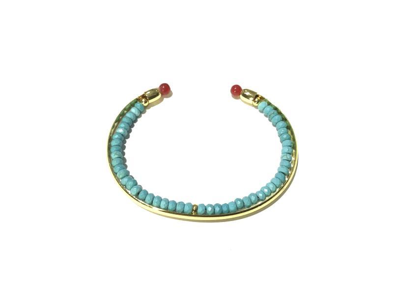 pulsera con formitura de bano de oro 18k piedra turquesa