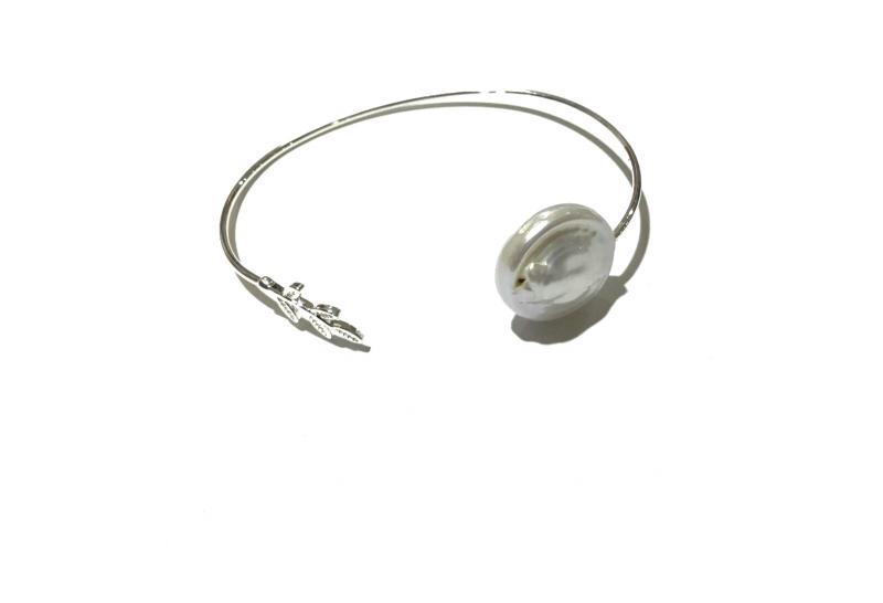 pulsera de laton con perla natural