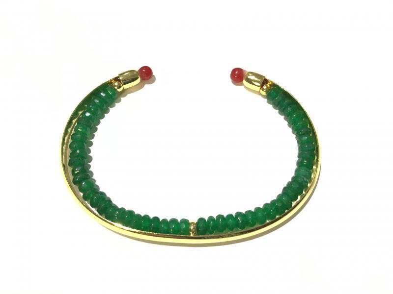 pulsera con formitura de bano de oro 18k piedra jade